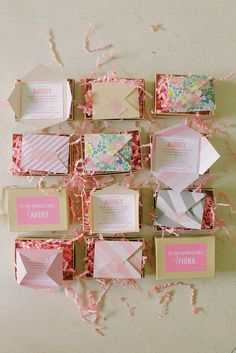 Abby created these teeny-tiny invitations, addressed to the favorite dolls of each guest, using kraft jewelry boxes, card stock, rafia, and washi tape. Get the DIY instructions here.   Photo by Ruth Eileen via Style Me Pretty