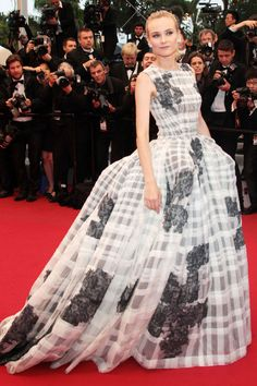 What: Christian Dior Haute Couture Where: Cannes Film Festival in 2012 Why: Kruger pulled off this dramatic plaid gown with ease.   - HarpersBAZAAR.com