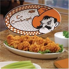 Need this...Oklahoma State Cowboys Ceramic Platter Game Day Oval Platter