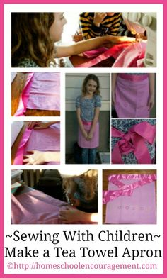 Sewing With Children: How to Make an Apron from a Tea Towel from #Homeschool Encouragement