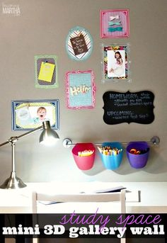 Create a fun mini 3D photo gallery with these fabric wall decals - they are perfect for small spaces!