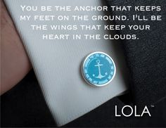 Anchor Cuff-link by LOLA.A source of strength and support right from the start - Life's roughest storms prove the strength of our anchors.New! Our gorgeous hand painted, sterling cuff-links are available in your favorite LOLA Compass Rose & Anchor designs. Available in light blue or pewter enamel. Retail $220. #fathersday #fathersdaygift #fathersday2017