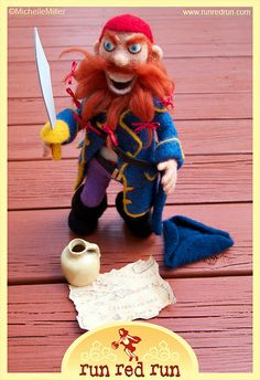 Needle Felted Pirate On Deck by Run Red Run, via Flickr