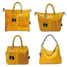 Keltainen kuuluu kesään, mutta yhtä hyvin syksyyn saa väriä Gabsin G3-sarjan Pokes-laukulla tai Gabsin Ava-käsilaukulla (oikea alakulma).