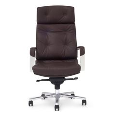 Perot Genuine Leather Aluminum Base High Back Executive Chair   Zuri Furniture