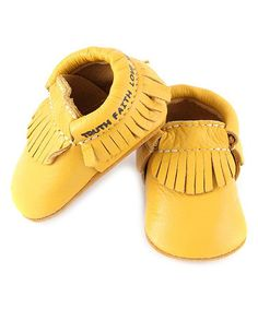 Yellow 'Truth Faith Love' Moccasins - Infant & Toddler #zulily #zulilyfinds