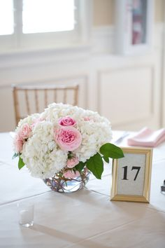 The River House, Pink & White wedding, white floral centerpieces