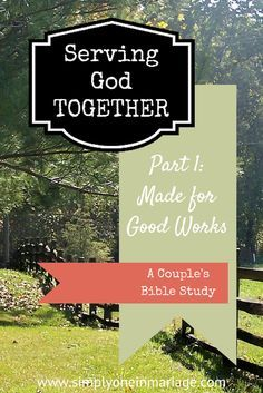 One of the joys of marriage is serving the Lord together.   Serving God Together - A Couple's Bible Study: Part 1 - Made for Good Works   Simply One in Marriage.