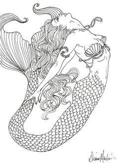 Mermaid Coloring Book for Adults Fresh Realistic Mermaid Coloring Pages Detailed Coloring Pages, Coloring Pages To Print, Free Printable Coloring Pages, Coloring Book Pages, Coloring Pages For Kids, Kids Coloring, Coloring Sheets, Mermaid Drawings, Mermaid Art