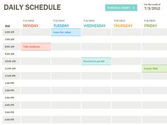 Daily Schedule Template | Printable Daily Planner Template | Excel Templates