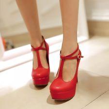 T-Bars Womens Sexy High Heel Platform Pumps Court Wedding bridesmaid Shoes Hot