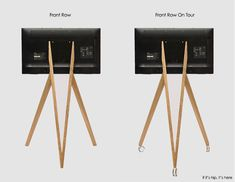 Front Row Wooden Tripod TV Stands From Roomours Tv Stand Tripod, Tripod Lamp, Wooden Tv Stands, Media Cabinet, Home Decor Items, Front Row, The Row, Monitor, Elegant