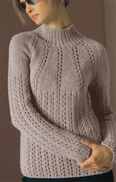 Eyelet Yoke Pullover by Vogue Knitting - CraftsyFor over 30 years, Vogue Knitting has delivered topnotch needlework technique and high-end fashion to hand knitters around the globe. Each issue offers up designer exclusives, the best knitwear from the Sweater Knitting Patterns, Knitting Designs, Knitting Stitches, Knit Patterns, Cable Knitting, Knitting Needles, Gilet Crochet, Knit Crochet, Vogue Knitting