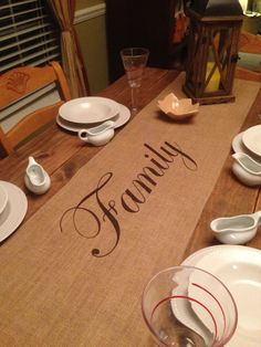 """Burlap Table Runner 12"""", 14"""" or 15"""" wide with Family in the center - Thanksgiving runner Holiday decorating Holiday runner by CreativePlaces on Etsy"""
