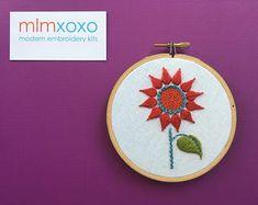 modern embroidery kits hoop art & pure wool felt cases by mlmxoxo