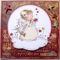 handmade card using Heavenly Angel stamp from Sugar Nellie which you can buy from www.funkykits.co.uk