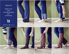 Neatly tuck your non-skinny jeans in boots. 27 Life Hacks Every Girl Should Know About (looks like I need to borrow a toddler, lol! Look Fashion, Diy Fashion, Ideias Fashion, Fashion Beauty, Fashion Tips, Fashion Hacks, Jeans Fashion, Fashion Boots, 27 Life Hacks