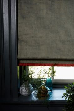 Abigail Ahern Collaborates With Hillarys Blinds - Mad About The House AbigailAhernxHillarys cley donkey roman blind with colette vixen fringe Fabric Blinds, Curtains With Blinds, Blinds For Windows, Gypsy Curtains, Grey Roman Blinds, Blackout Roman Blinds, Modern Roman Blinds, Rollo Design, Hillarys Blinds