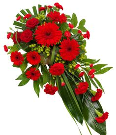 Red Single Ended Spray - - - Valentine's Day Flower Arrangements, Funeral Floral Arrangements, Flower Spray, Flower Vases, Gerbera, Funeral Sprays, Cemetery Decorations, Casket Sprays, Memorial Flowers