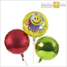 """Ballonbukett - Gute Besserung Smileys  Genesung garantiert! Mit diesem Ballonbukett steht einer baldigen Besserung nichts im Weg. Die Aufschrift """"Get well"""", was """"Gute Besserung"""" bedeutet, ist die Botschaft von diesem Bukett. Die bunten Smileys verleihen zusätzlich eine Prise Humor. Farblich abgerundet, wird diese Überraschung durch zwei farblich passende Rundballons."""