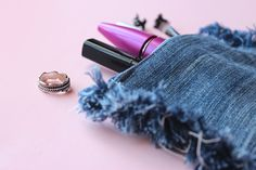 DIY Upcycled Frayed Denim Pouch by Curly Made | Project | Sewing / Bags & Purses | Kollabora