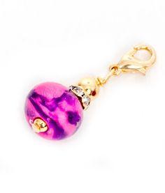 Branelli Hot Pink Purple Polymer Clay Dangle Gold PCD117