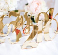 Acrylic Table Numbers for Weddings and Events - Standing Numbers Gold, Silver, Clear Acrylic Chic Wedding Decor Centerpieces (Item - ACB100)
