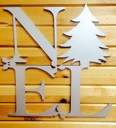 Noel Unfinished Wood Christmas Decoration, Laser-Cut, Door Hanger, Holiday, Christmas Tree