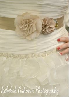 Beautiful gown, Brown Sash, Flowers