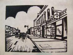 Main Street.  Linoleum Cut.