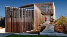 """Residential Architecture: Queenscliff Residence by John Wardle Architects: """"..This house acts as an optical instrument, a series of devices that frame views beyond the abutting foreshore to the south toward the Heads of Port Phillip Bay (Queenscliff, Victoria, Australia). The most significant promenade through the site, and house itself, takes you from the street along a gently stepped path to the entry stair which then elevates you sufficiently to appreciate the view as you arrive at the up..."""