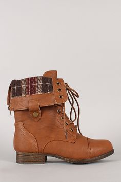 Rice-69 Plaid Cuff Military Lace Up Boot $33.90