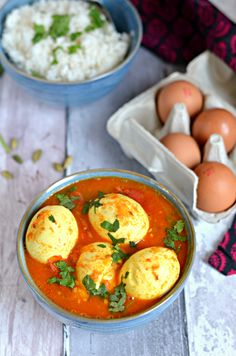 Aromatic Spicy egg curry from Kashmir, with tomatoes, cardamom and saffron. Serve with steamed rice or Naan for a cosy winter meal. Vegetarian, high in proteins and antioxidants Best Indian Recipes, Asian Recipes, Healthy Recipes, Veg Recipes, Egg Curry, Cosy Winter, Steamed Rice, Exotic Food, Recipes From Heaven
