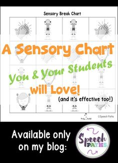 Students with autism often need quick sensory breaks to calm their bodies and regulate emotions. I've used this chart for years to help students get their brains and bodies back on track! Can be easily used in the classroom or at home. Easy, fun, effective FREEBIE! #autism #speechtherapy #specialeducation<br>