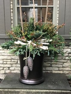 Winter Containers, 2017 Tis the season that arrives quickly with high demand and temperamental weather. Off we go, decorating local po. Christmas Window Boxes, Christmas Urns, Winter Christmas, Winter Porch, Outdoor Christmas Planters, Outside Christmas Decorations, Christmas Flower Arrangements, Christmas Centerpieces, Winter Planter