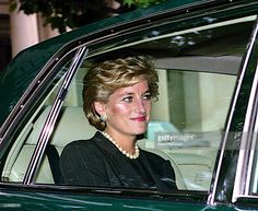Washington, DC. 9-24-1996 Diana, Princess of Wales leaves the Brazilian Ambassador's residence enroute to the White House. She was in town for a series of fundraisers to benefit breast cancer research. At the White House she was hosted by First Lady Hillary Rodham Clinton. Accompanying her in the limousine is the British Ambassador to the United States Sir John Kerr Baron of Kinlochard. Credit: Mark Reinstein