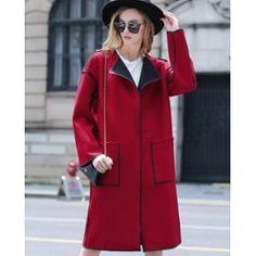 d0d2eaabf7446 Manteau Femme En Laine À Revers Contrastée Choies - Achat et vente