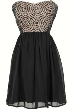 Strapless Web Lace Chiffon Dress in Black/Nude  www.lilyboutique.com
