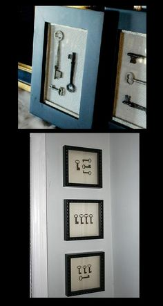 Framed skeleton keys (on my Elissa Craft board) I first saw these at a resale… Antique Keys, Vintage Keys, Look Vintage, Skeleton Key Crafts, Skeleton Keys, Frame Crafts, Diy Frame, Key Projects, Old Keys