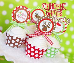 Amanda's Parties To Go: Reindeer Games party set for holiday parties - great games, game signs and hot cocoa bar printables included