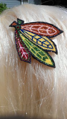 Chicago Blackhawks glitter feather barrette