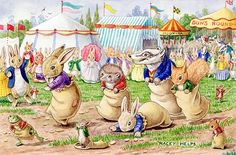 The Sack Race with rabbits, hedgehog, squirrel, badger, frog, mice