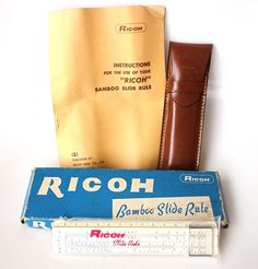 Vintage Ricoh Bamboo Slide Rule 505 in Box w/ Holder and Book Made in Japan