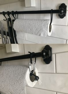 Luxury Kitchen IKEA fintorp paper towel holder hack - A table top kitchen paper towel holder is a bit of an annoyance. I prefer to keep paper towels off the countertop. Here are a few ideas to do just that. Luxury Kitchen Design, Luxury Kitchens, Ikea Hacks, Paper Towel Crafts, Paper Towels, Paper Towel Rolls, Fintorp Ikea, Kitchen Paper Towel, Towel Rack Bathroom