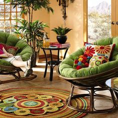 I love, love, love this! Papasan chairs are so cozy and the green cushions are perfect. Need a cushion like these for the vintage papasan chair I picked up at a yard sale for $5.