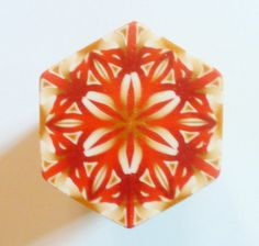 LARGE Maroon Cream and Gold Hexagon Polymer Clay by ClaybyKerm, $10.00