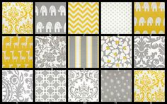 YOU DESIGN Custom 3 piece Crib Bedding Set - Bumper, Skirt and Sheet Yellow and Gray via Etsy