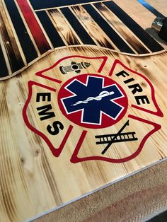 Firefighter/paramedic flag wood flag home decor custom Firefighter Crafts, Firefighter Paramedic, Firefighters Wife, Firefighter Wedding, Firefighter Quotes, Wood Yard Art, Wooden Painting, New Project Ideas, American Flag Wood