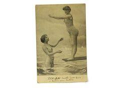 Antique Bathing Beauties Black and White Postcard. Antique