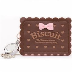 pale pink and brown biscuit wallet with chain from Japan - Wallets - Accessories - kawaii shop modeS4u